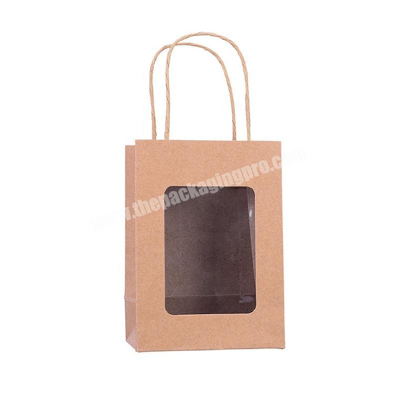 Customized Plain Brown Kraft Paper Gift Shopping Bag Display Bags With Clear Plastic Window