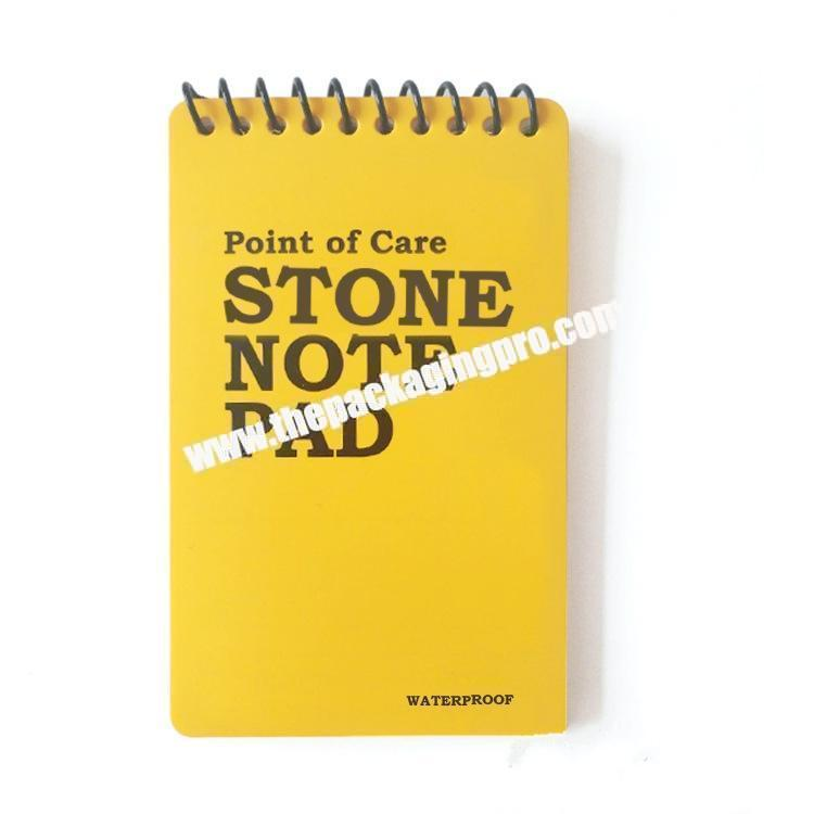 Customized PP PVC Transparent Cover Spiral Ring Binding Stone Paper Waterproof Notebook Notepad Printing PU Leather Notes Field