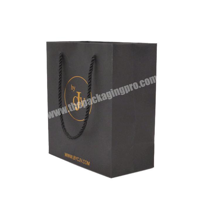 Customized printing packaging jewelry black paper bag shopping kraft paper bag for cosmetics