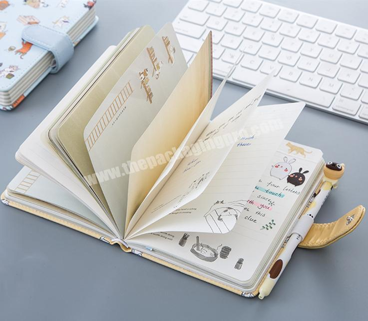 Supplier Cute Printed Cover Notebook Eco-friendly Hand Book Diary Leather Cover Planner