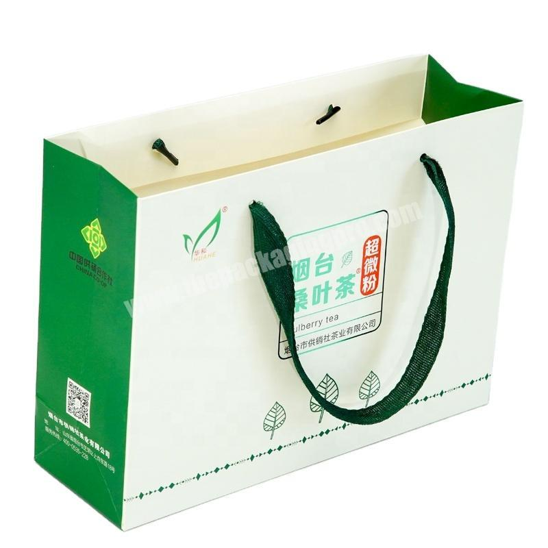 Dongming portable waterproof high quality tea white cardboard paperbag with plain ribbon