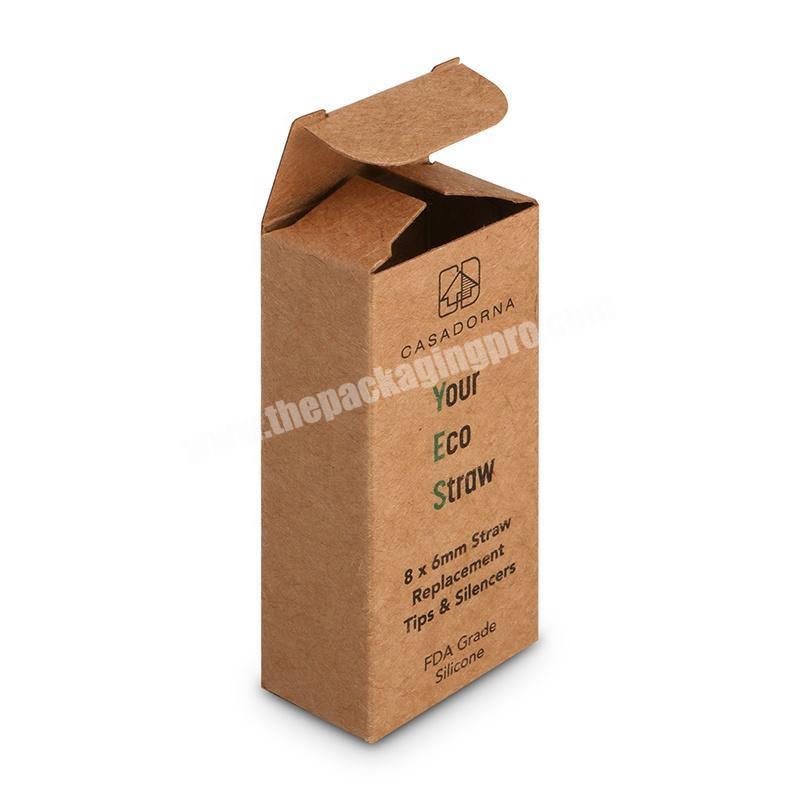 Eco friendly brown kraft paper stainless steel straw packaging box custom