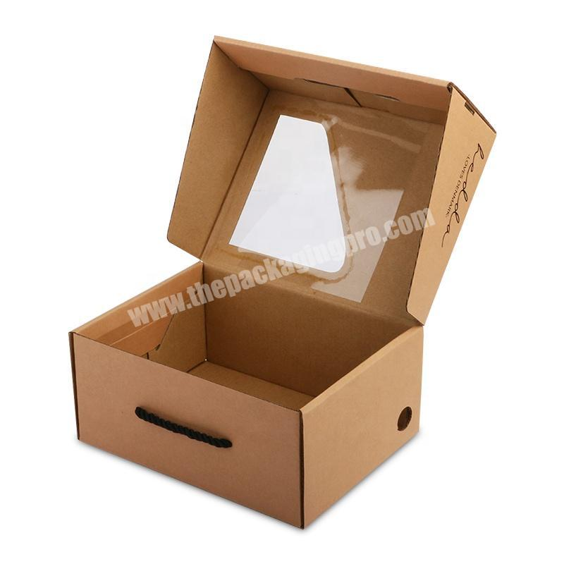 Eco friendly kraft shoe corrugated carton packaging box with transparent window and handle