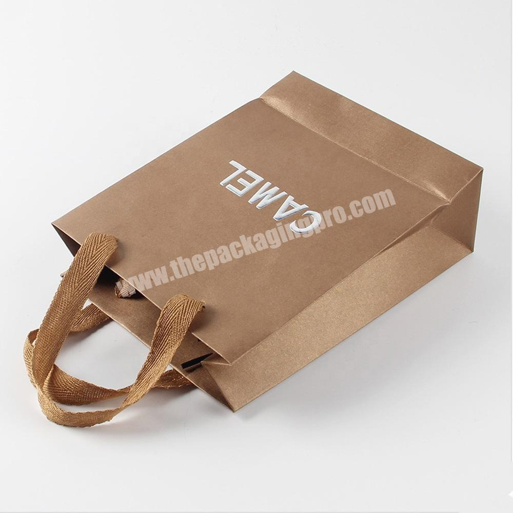 Eco friendly logo printing recyclable custom gift packaging gold cosmetic packaging kraft paper bag