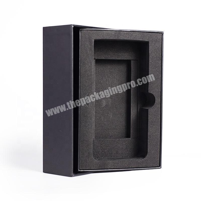 Elegant spot UV logo printing black smart packing box for cell phone