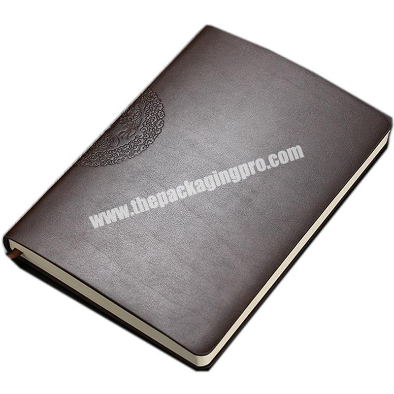 Embossed Logo Travelers Pu Leather Cover Notebooks A5 Soft Genuine Leather Bound Notebook Personalized Vintage Business Planner