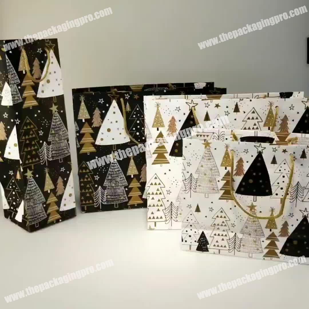 Excellent Quality Hot Sale Colorful New Design Christmas Gift Bags Set for Any Size Paper Gift Bags
