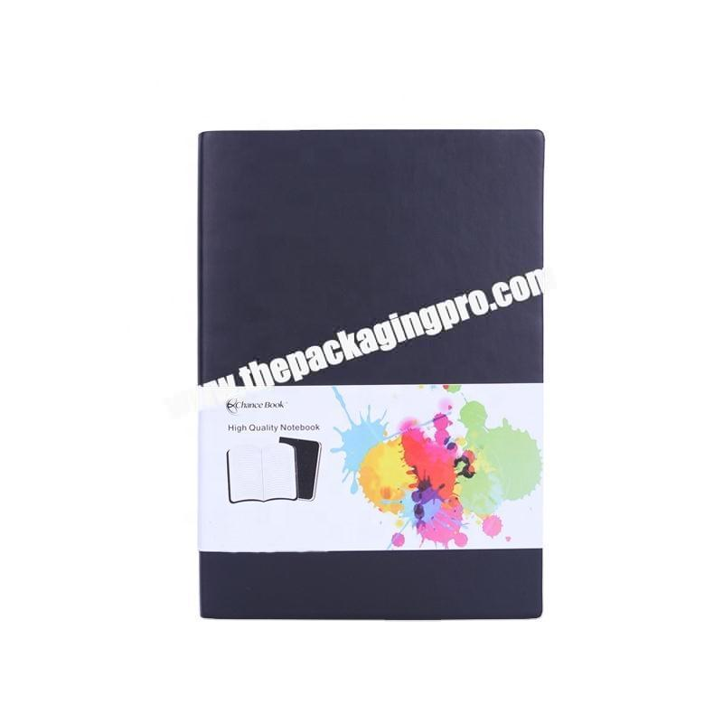 Factory Custom A4 A5 A6 Black Soft Cover PU Faux Leather Notebook Diary With Sleeve Printed Paper Hardcover Note Book Journal