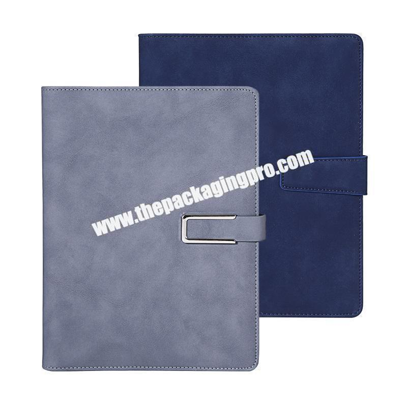 Factory Custom A5 Blank Cover Leather Magnetic Notebook Embossed Logo Luxury Journals 6 Ring Binding Hard Cover Notebooks Agenda