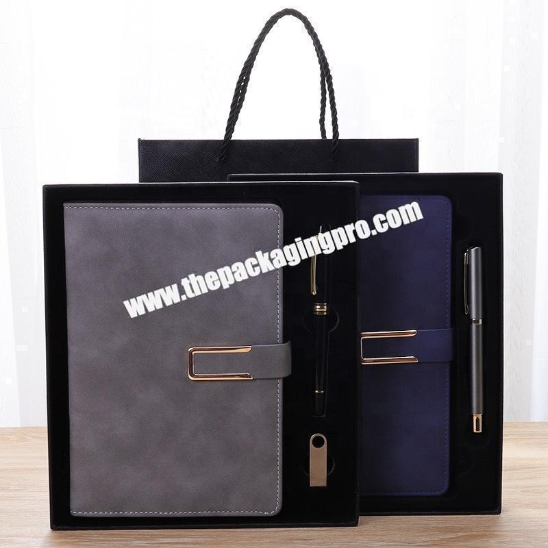 Factory Custom Dark Blue PU Leather Planner Notebook Logo Printed Plain Hardcover A5 B5 Leather Diary Set Gift Notebooks