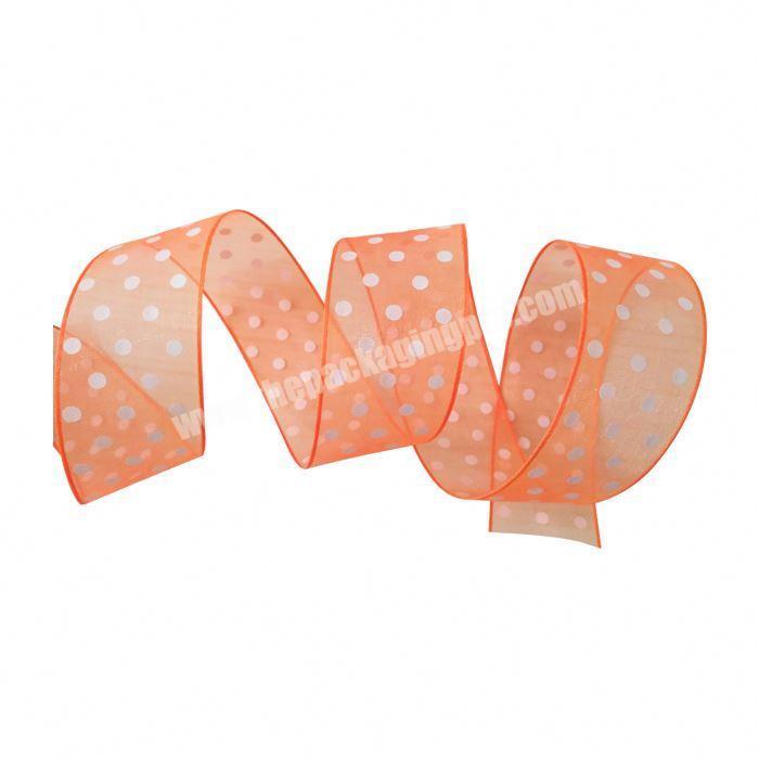 Factory custom logo christmas nylon polka dot printed organza ribbon
