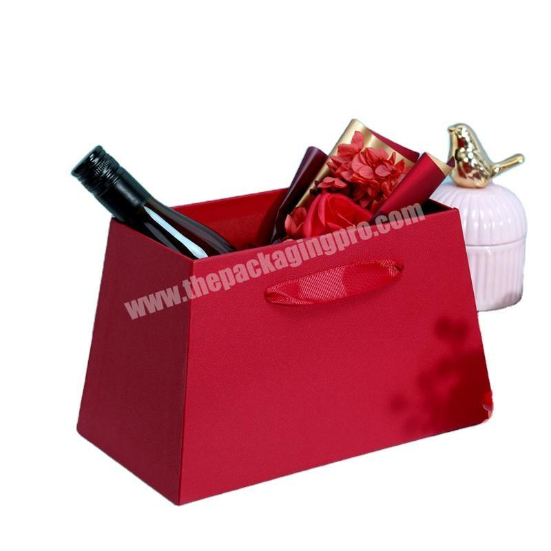 Factory made new red trapezoidal box portable wedding flower box handy gift box