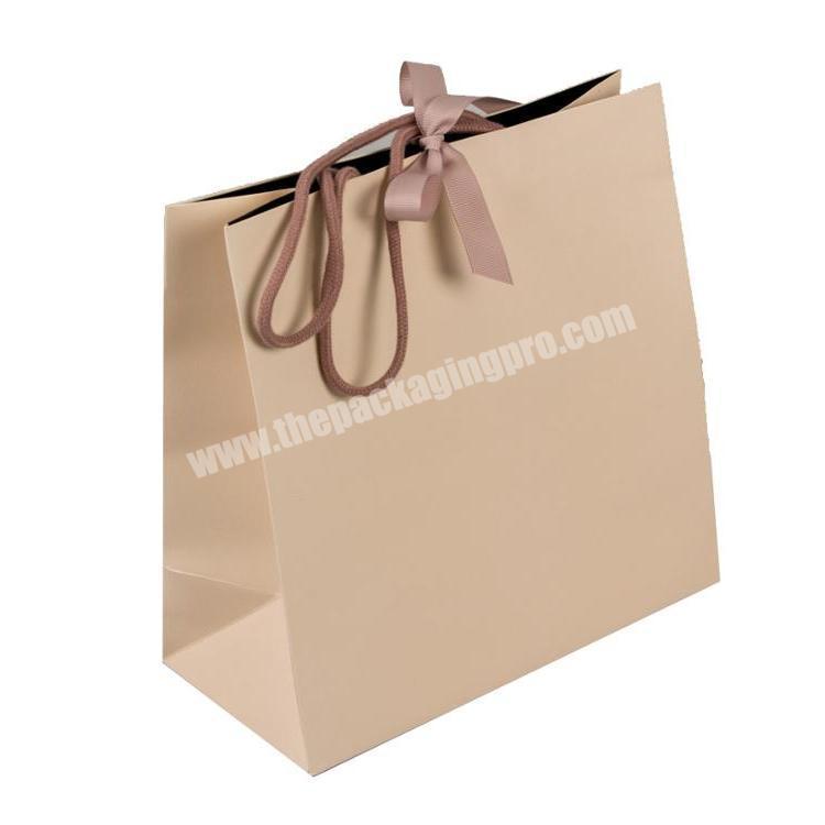 Factory Price Custom made gift ribbon handle brown paper bag