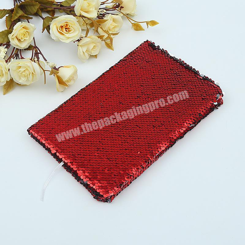Custom Factory Price Reversible Solid Color Glitter School Dairy Paper Sequin Notebook