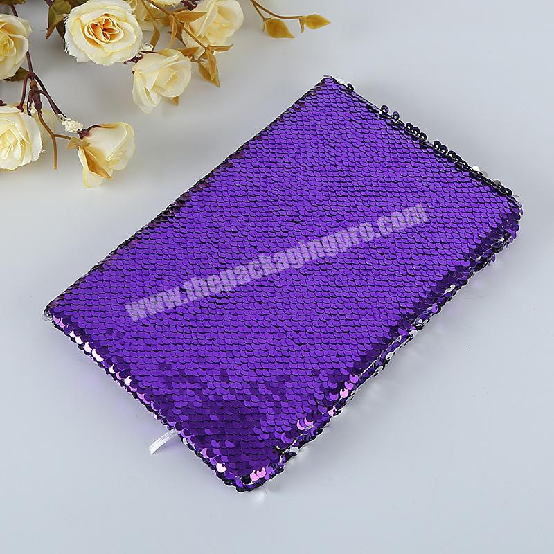 Wholesale Factory Price Reversible Solid Color Glitter School Dairy Paper Sequin Notebook