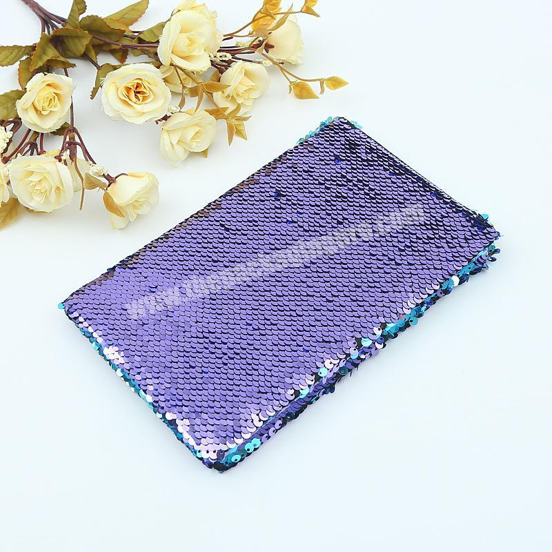 Factory Factory Price Reversible Solid Color Glitter School Dairy Paper Sequin Notebook