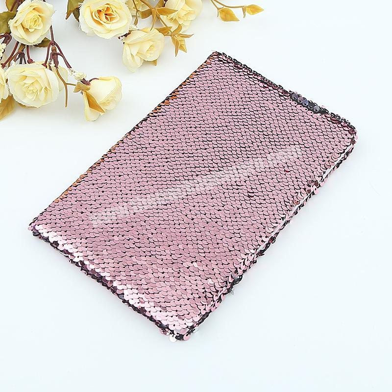 Supplier Factory Price Reversible Solid Color Glitter School Dairy Paper Sequin Notebook
