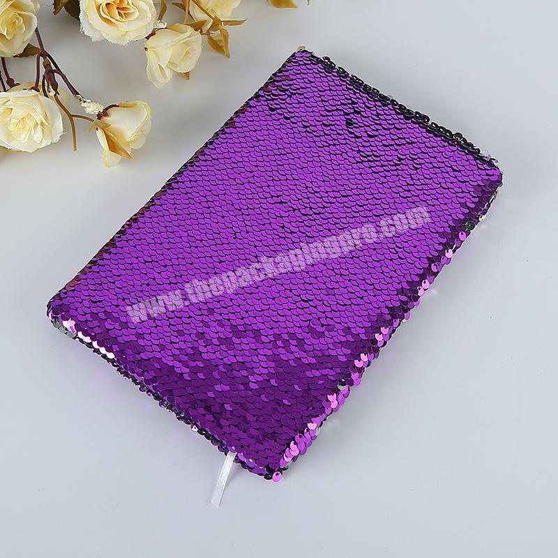 Manufacturer Factory Price Reversible Solid Color Glitter School Dairy Paper Sequin Notebook