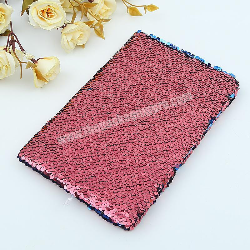 Shop Factory Price Reversible Solid Color Glitter School Dairy Paper Sequin Notebook
