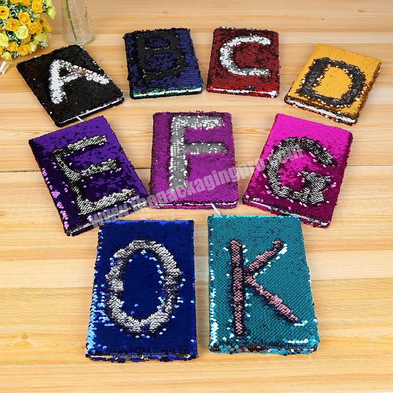 Factory Wholesale Letter Design Glitter School Dairy Paper A5 Sequin Notebook