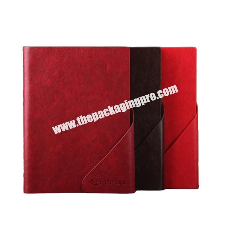 Factory Wholesale Red Black Gift Set Diary Note Custom Inner Pages Logo A5 PU Leather Eco Friendly Planner Notebook With Pen