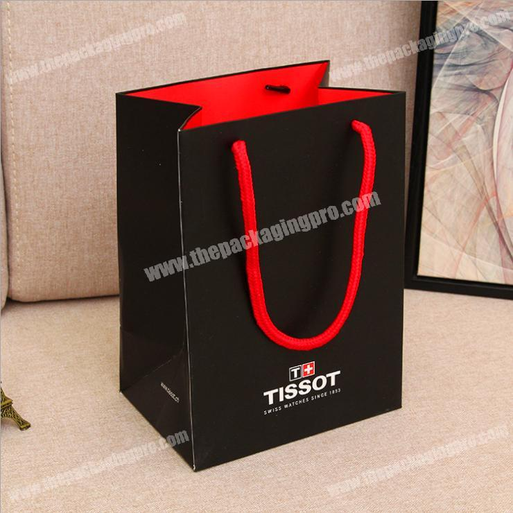 fashion Black color printing packaging bags gift advertising Handbags women