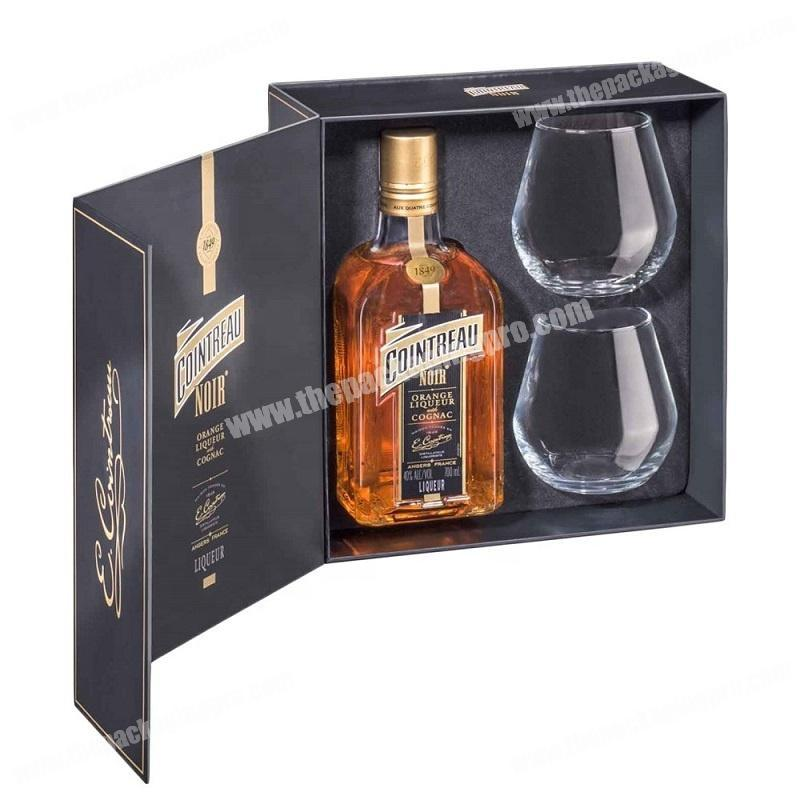 Foam insert OEM luxury rigid wine liquor bottle packing box
