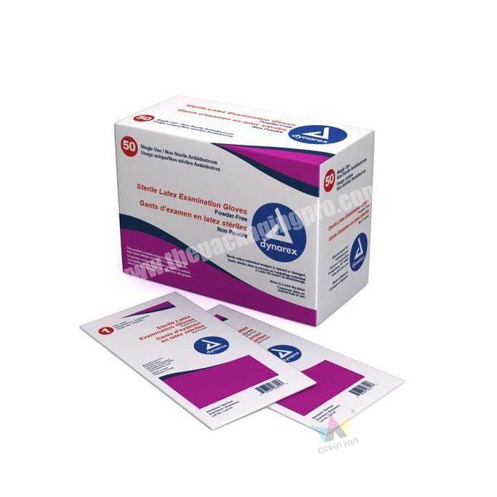 Folding Corrugated Paper Material And Custom Design Packaging Boxes With Latex Exam Gloves