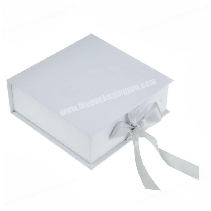 Folding custom cardboard paper book shape gift box with ribbon for giving