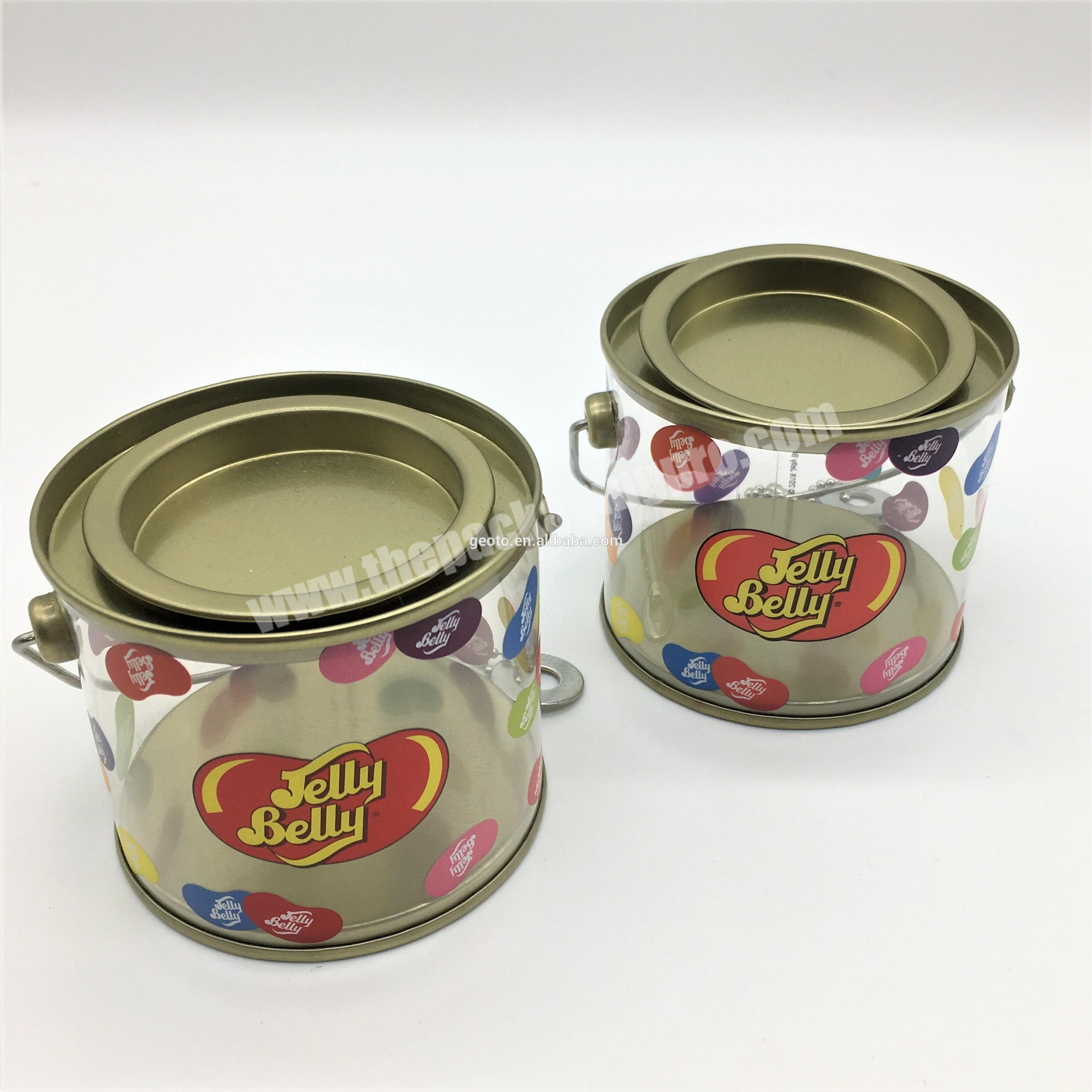food grade transparent plastic pail for candy container with handle customized print