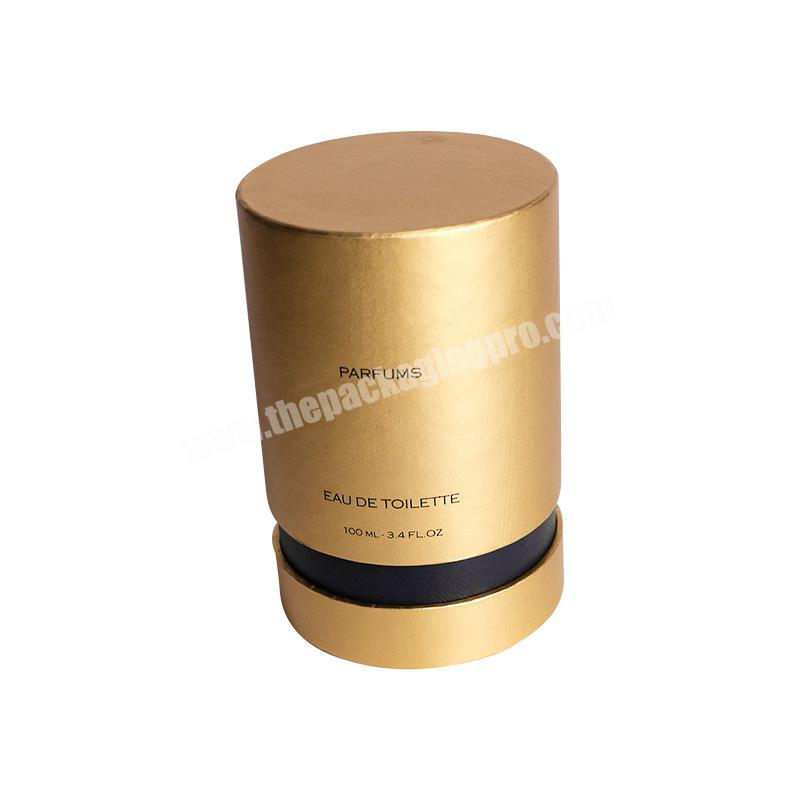 Wholesale Gold cylinder shape paper perfume cardboard tube boxes for sale