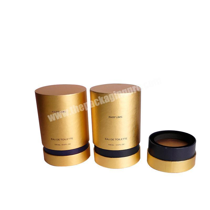 Factory Gold cylinder shape paper perfume cardboard tube boxes for sale
