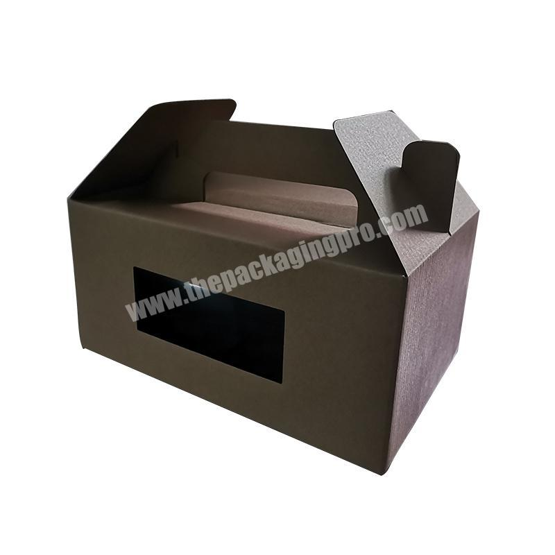 Handle Kraft Paper Box Party Wedding Gift Cake Bakery Packaging Box with Window
