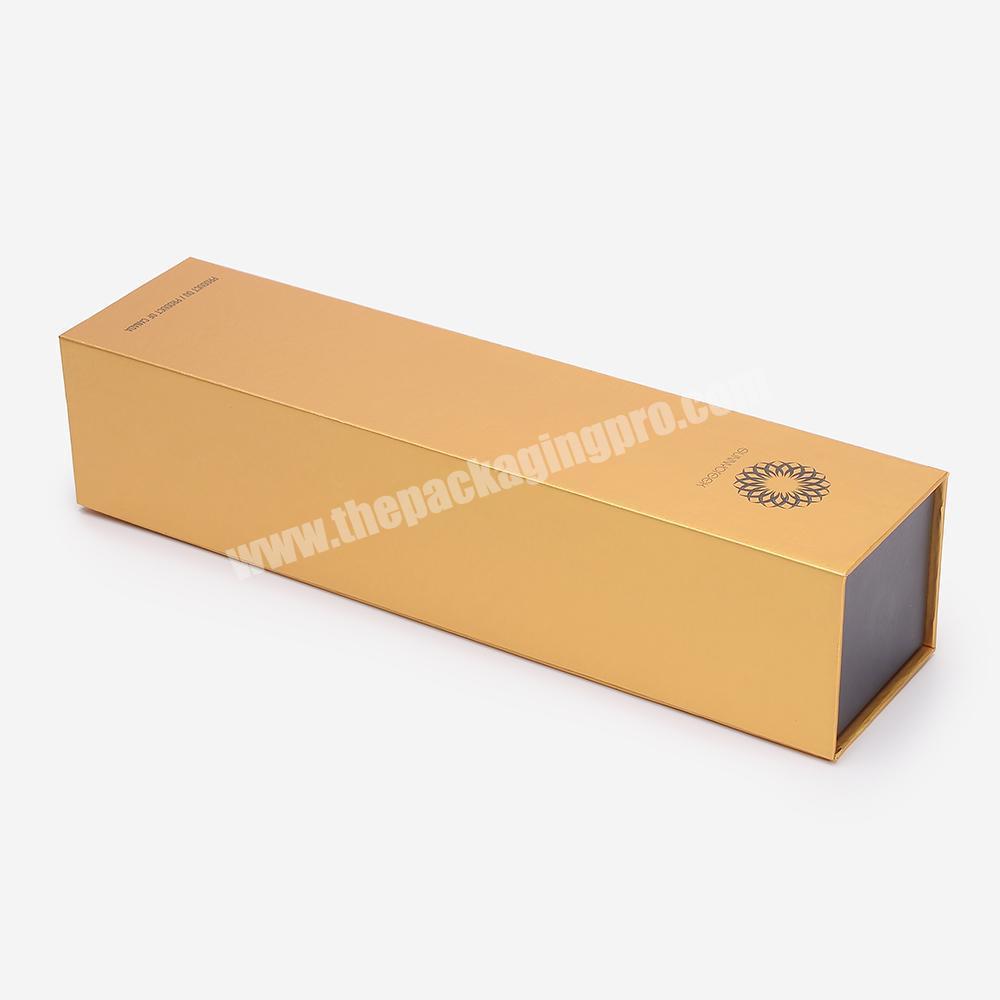 Handmade Paper Golden Magnetic Custom Cardboard Wine Gift Box For Bottle With Foam