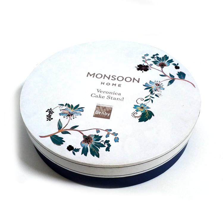 Handmade Stand Paperboard Paper Packaging White Round Food Candy Cake Gift Box