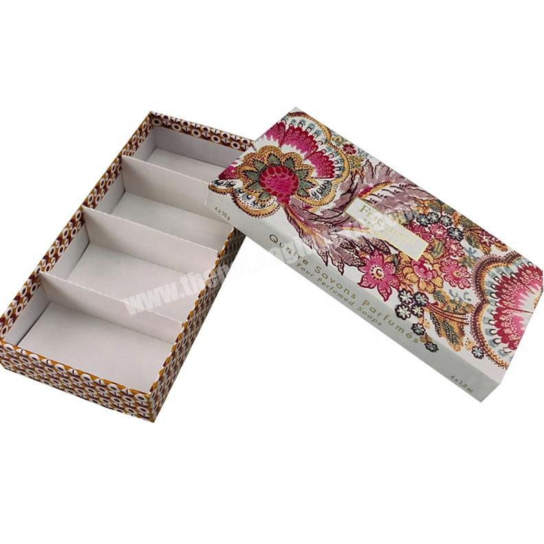 Custom hard paper custom printed top and base set up 4 PCS perfume soap packaging box with paper compartment