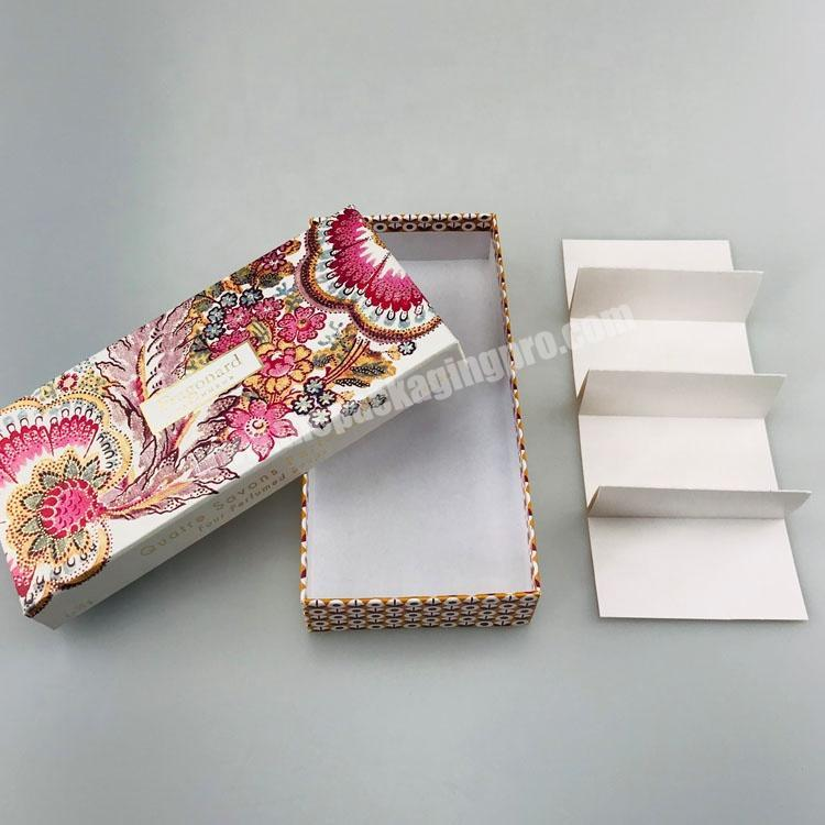 Manufacturer hard paper custom printed top and base set up 4 PCS perfume soap packaging box with paper compartment