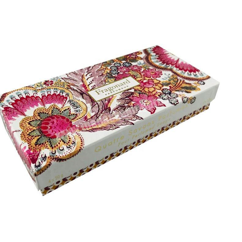 Wholesale hard paper custom printed top and base set up 4 PCS perfume soap packaging box with paper compartment