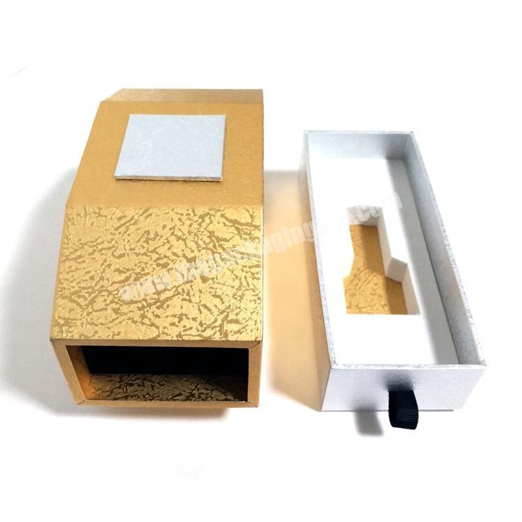 High-end fancy golden drawer cardboard paper packaging perfume gift box