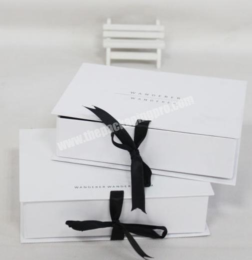 Wholesale High quality Custom Logo White Foldable Paper Packaging Box Rigid Gift Box with Ribbon Bow