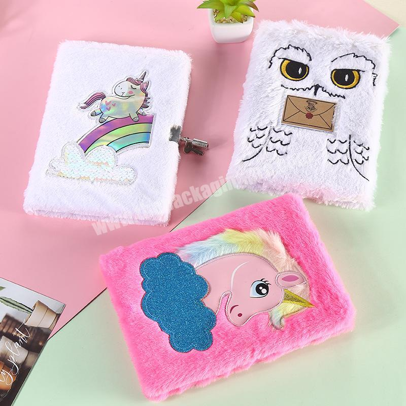 High Quality Furry Fur Cover Notebook Primary School Diary Cute Lined Journal For Girl