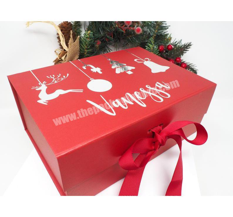 High Quality Gold Foil Stamping Custom Luxury Christmas Eve Box with Ribbon Christmas Gift Box