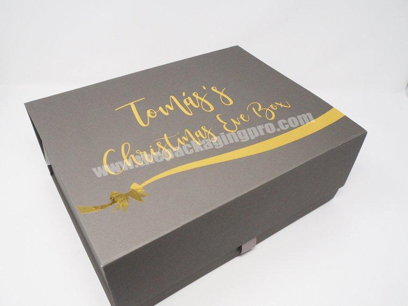 Shop High Quality Gold Foil Stamping Custom Luxury Christmas Eve Box with Ribbon Christmas Gift Box