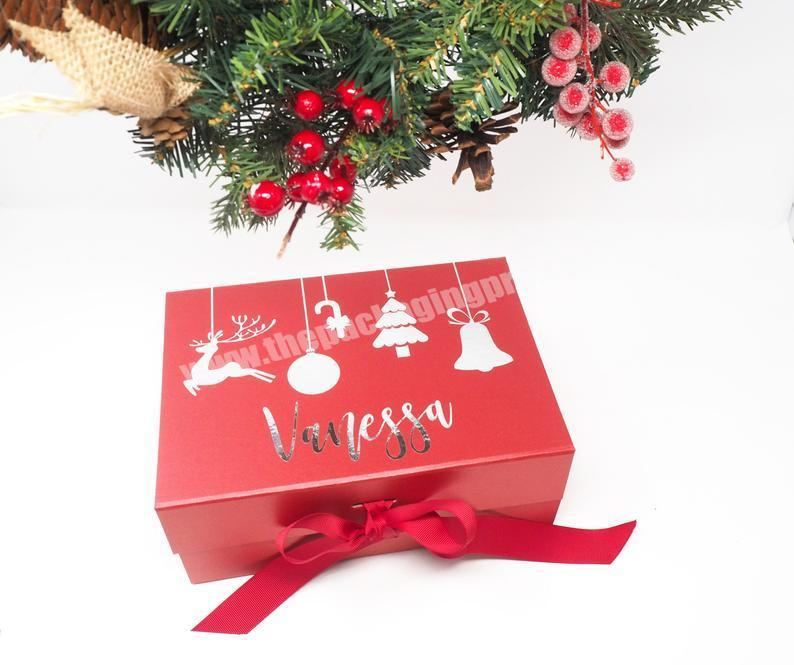 Manufacturer High Quality Gold Foil Stamping Custom Luxury Christmas Eve Box with Ribbon Christmas Gift Box