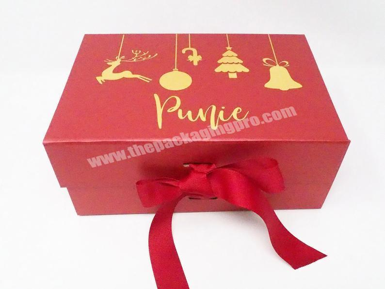 Wholesale High Quality Gold Foil Stamping Custom Luxury Christmas Eve Box with Ribbon Christmas Gift Box