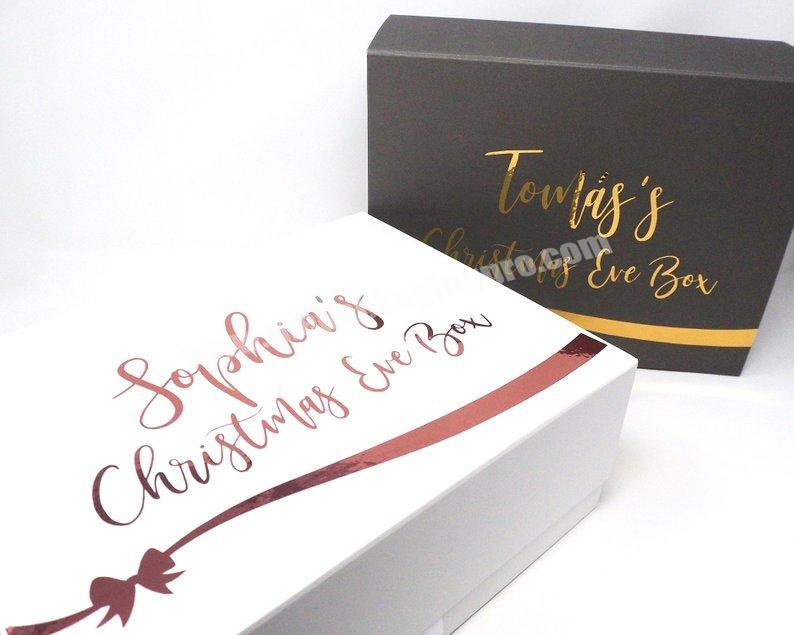 Supplier High Quality Gold Foil Stamping Custom Luxury Christmas Eve Box with Ribbon Christmas Gift Box