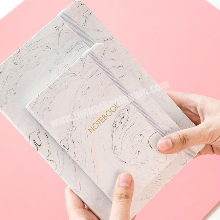 Wholesale High quality hardcover custom marble printing elastic band notebook