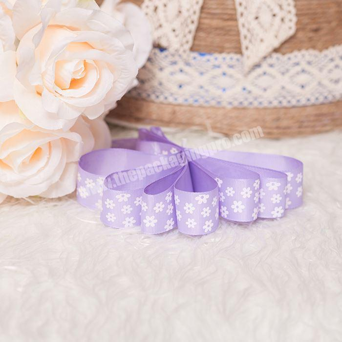 High Quality Hot Stamping Printing With Logo Printed Gift Grosgrain Ribbon Custom 2.5cm  Ribbon