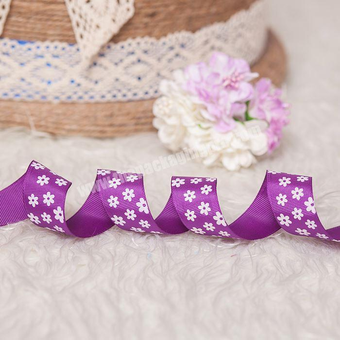 Supplier High Quality Hot Stamping Printing With Logo Printed Gift Grosgrain Ribbon Custom 2.5cm  Ribbon