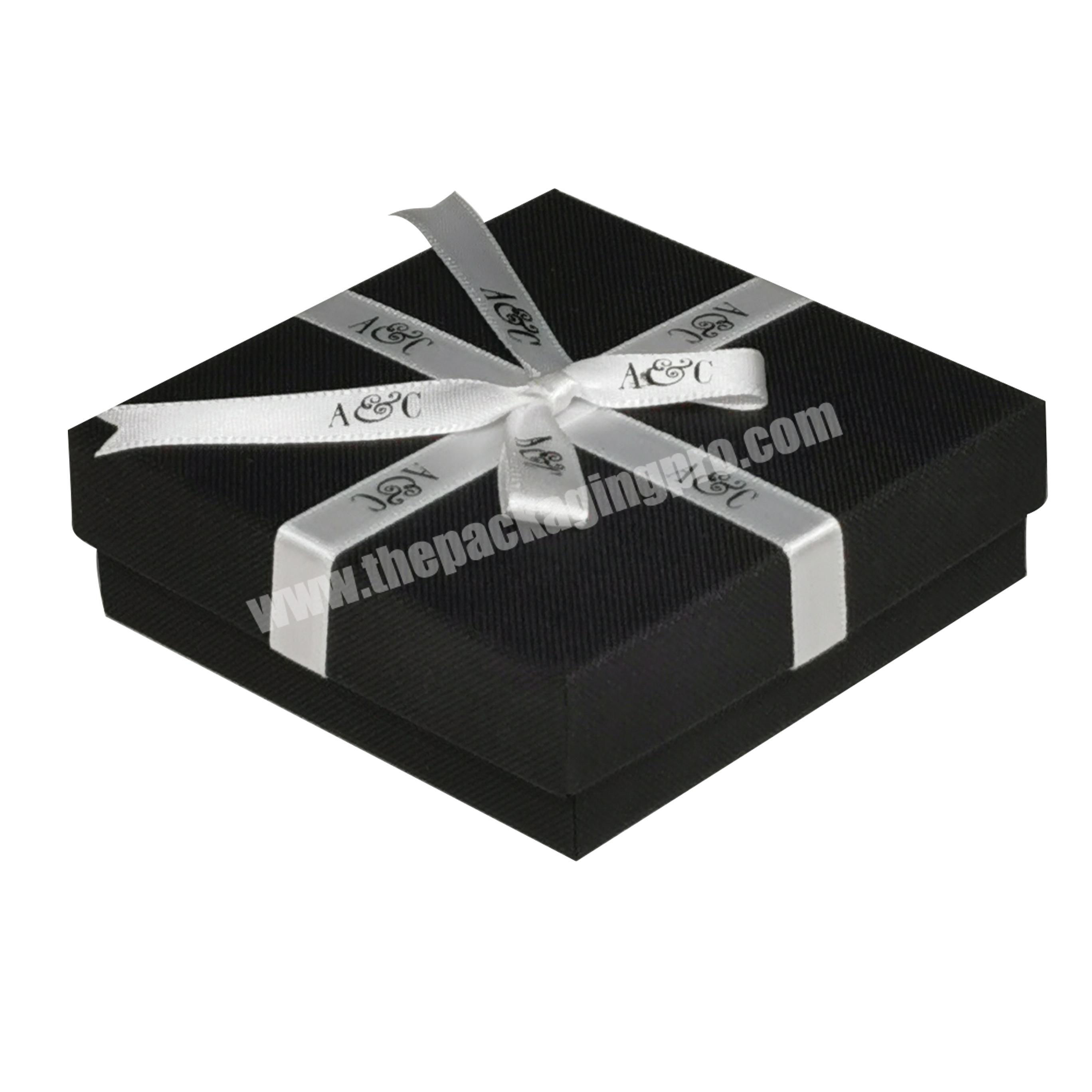 High Quality Low Price Luxury Custom Black Lid Gift Box and Base Packaging Box with Riband